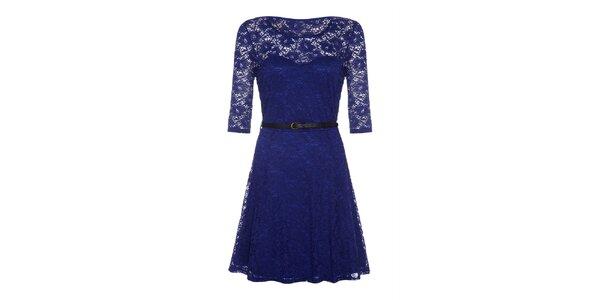 Dámské modré krajkové šaty s dlouhým rukávem Iska