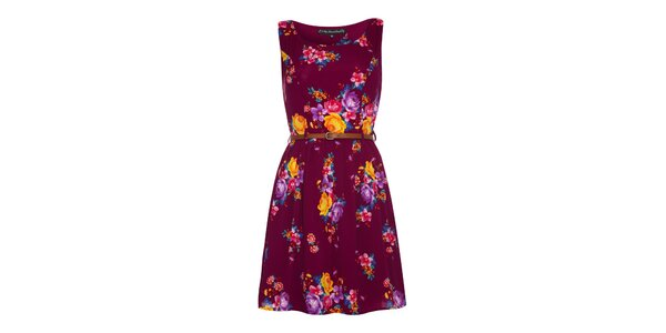 Dámské purpurové šaty s květinami Iska