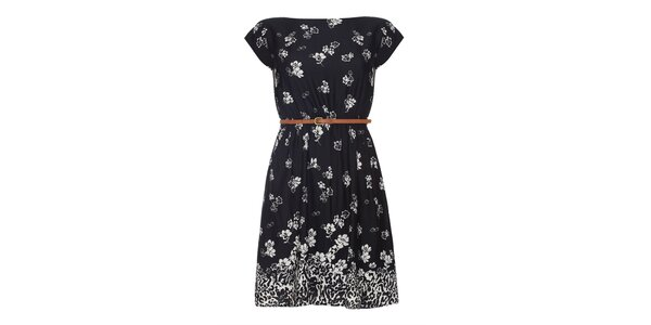 Dámské černé šaty s květinami Iska