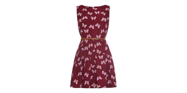 Dámské vínové šaty s motýlky Iska