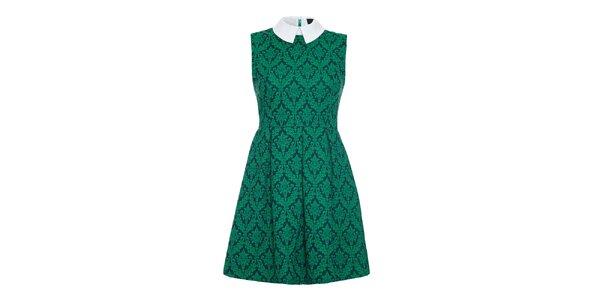 Dámské zelené šaty s bílým límečkem Iska