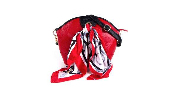Dámská červená kožená kabelka s šátkem Belle & Bloom
