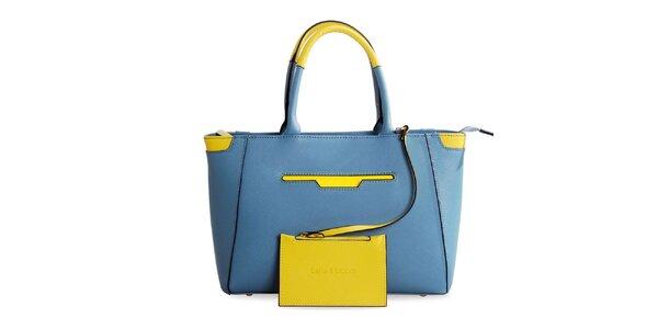Dámská modrá kožená kabelka se žlutými prvky Belle & Bloom