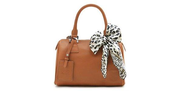 Dámská hnědá kufříková kabelka Belle & Bloom s ozdobným šátkem