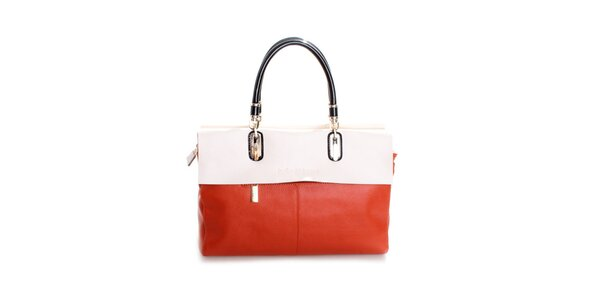 Dámská oranžovo-smetanová kožená kabelka Belle & Bloom