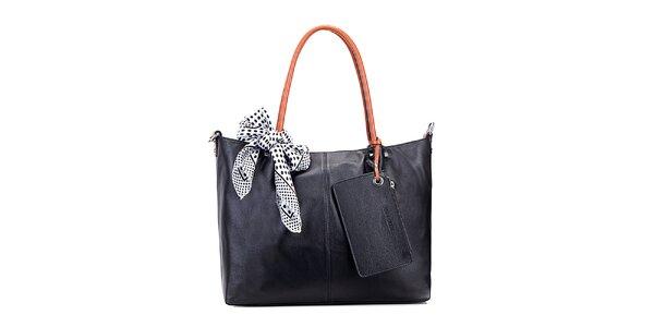 Dámská černá kožená kabelka s hnědými uchy Belle & Bloom