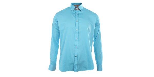 Pánská tyrkysová košile s dlouhými rukávy A Fish Named Fred