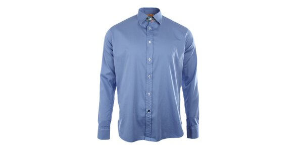 Pánská modrá košile s dlouhým rukávem A Fish Named Fred