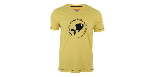 Pánské žluté tričko s potiskem A Fish Named Fred