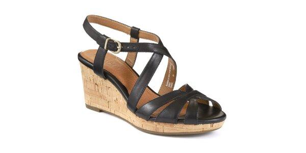 Dámské kožené černé páskové sandálky na platformě Clarks
