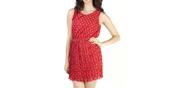 Dámské červené šaty s kočičkami Pepper tree