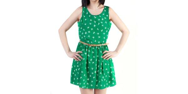 Dámské zelené šaty s průstřihem na zádech Pepper Tree