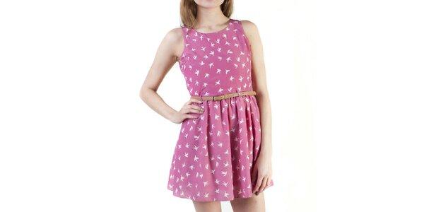 Dámské růžové šaty s průstřihem na zádech Pepper Tree