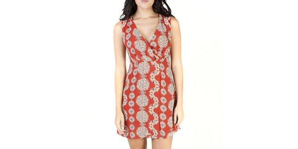 Dámské oranžové šaty se vzorem Pepper Tree