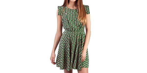 Dámské zelené šaty s barevným vzorem Pepper Tree