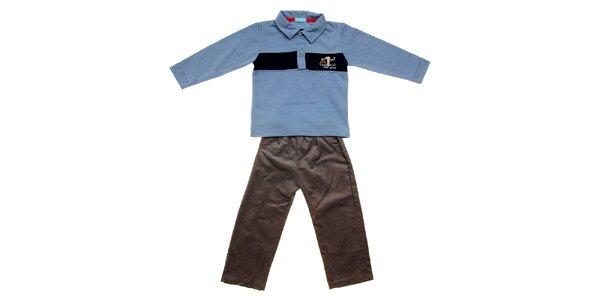 Kojenecká souprava Lullaby - modré polo tričko a manšestráky