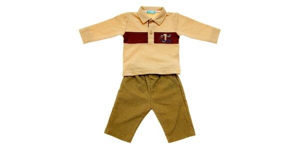 Kojenecká souprava Lullaby - béžové polo tričko a manšestráky