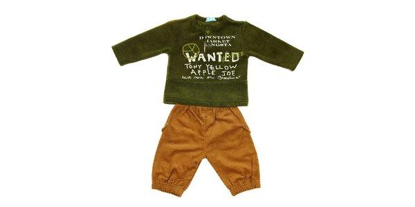 Dětská souprava Lullaby - manšestráky a zelená mikina