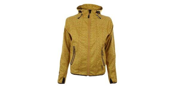 Dámská žlutá softshellová bunda se vzorem Trimm