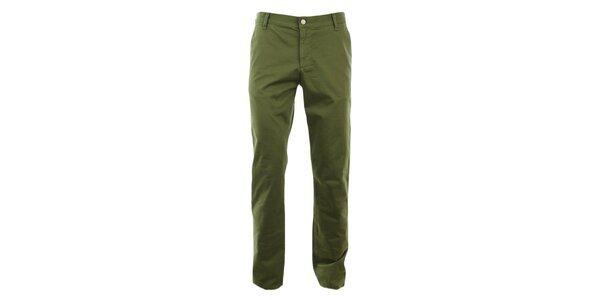 Pánské zelené slim chino kalhoty Monkee Genes