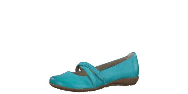 Dámské kožené tyrkysové botičky Tamaris