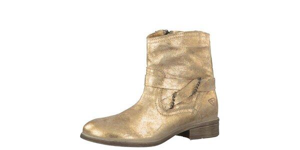 Dámské kožené zlaté kozačky Tamaris