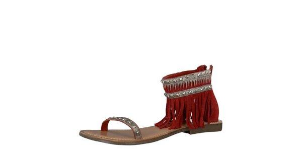Dámské kožené červené sandály Tamaris