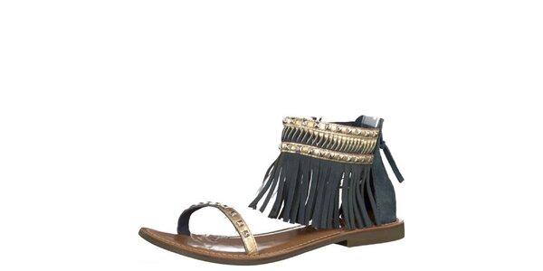 Dámské kožené tmavě modré sandály Tamaris