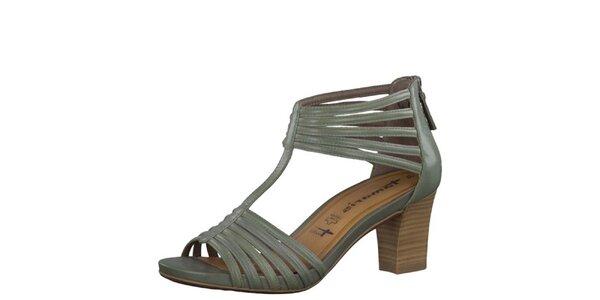 Dámské kožené smaragdové sandály Tamaris