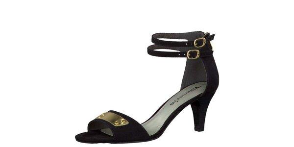 Dámské černé sandálky se zlatými přezkami Tamaris