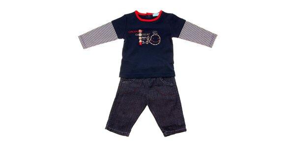 Kojenecká souprava Lullaby - modré tričko a kalhotky