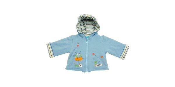 Dětský světle modrý kabátek Lullaby s kapucí s ouškama
