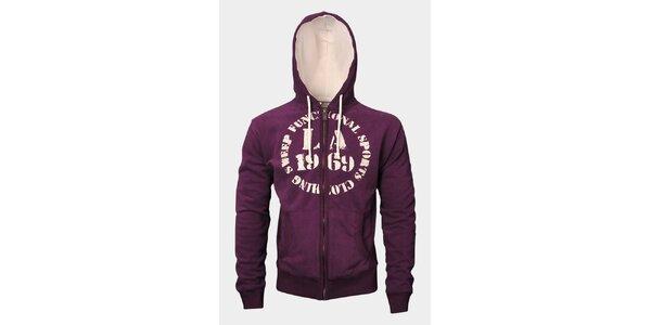 Pánská fialová mikina Sweep s kapucí a zipem