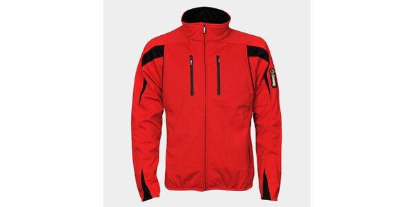 Pánská červená softshellová bunda Sweep s černými detaily