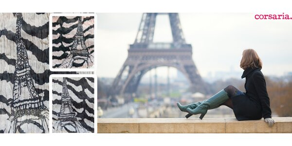 Velký zavinovací šátek/pareo na léto s motivem Eiffelovy věže