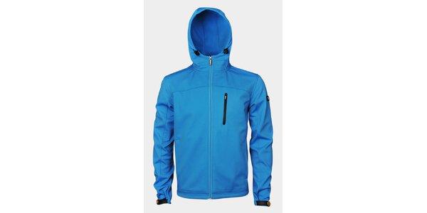 Pánská světle modrá softshellová bunda Sweep s kapucí