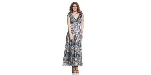 Dámské dlouhé modře vzorované šaty Kool