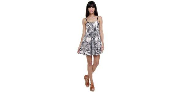 Dámské černo-bílé šaty na špagetová ramínka Kool