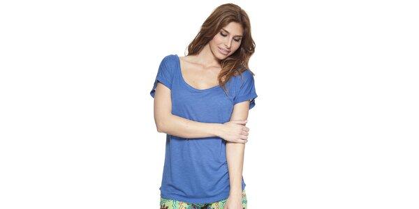 Dámské modré tričko s kulatým výstřihem Kool