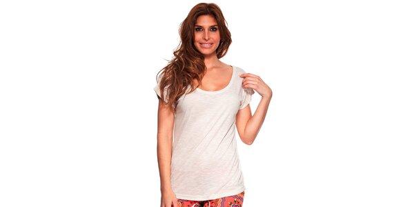 Dámské krémově bílé tričko s kulatým výstřihem Kool