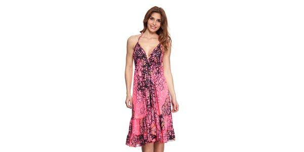 Dámské zářivě růžové šaty se zavazováním za krkem Kool