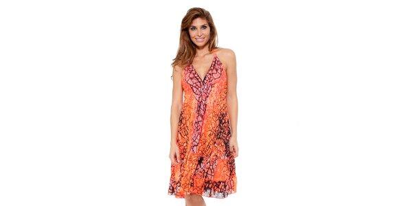 Dámské zářivě oranžové šaty se zavazováním za krkem Kool