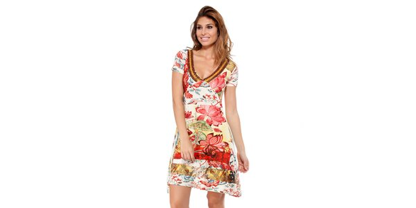 Dámské květinové šaty s korálkovým výstřihem Kool