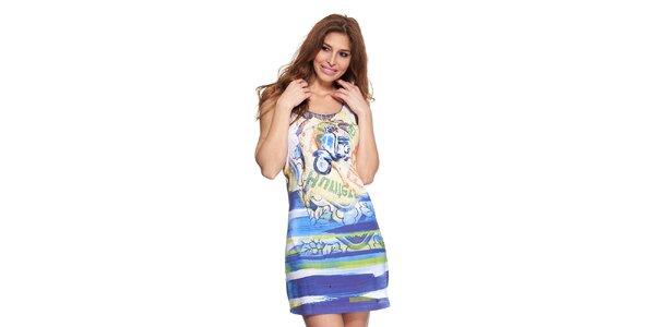 Dámské modro-bílé letní šaty Kool