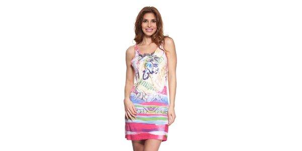 Dámské fuchsiovo-bílé letní šaty Kool