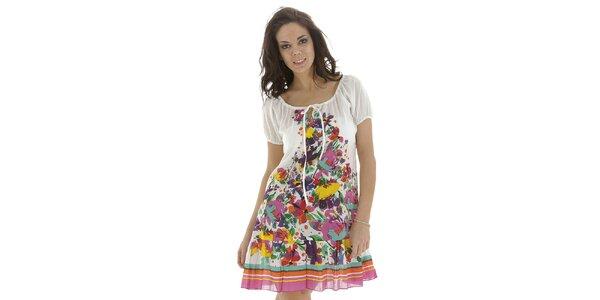 Dámské bílé šaty s květinovým vzorem Kool