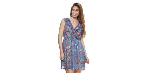 Dámské denimově modré šaty s květinovým vzorem Kool