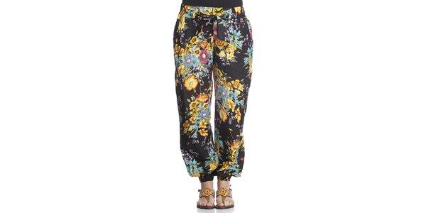 Dámské černé turecké kalhoty s květinovým potiskem Kool