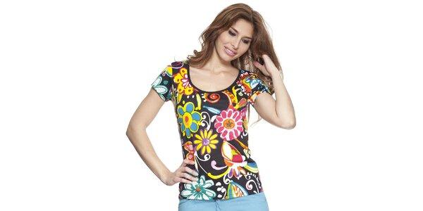 Dámské černé tričko s květinovým potiskem Kool