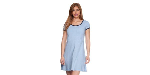 Dámské světle modré bavlněné šaty s lemem Kool